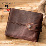 Men Genuine Leather RFID Anti-theft Retro Business Multi Card Slot Leather Card Holder Wallet