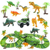 153Pcs Dinosaur Railway Car Track Racing Track Toys Set Bend Flexible Race Track Flash Light Car Educational Toys for Kids Gift