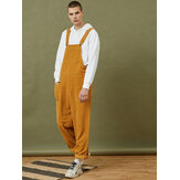 Corduroy Mens Multi Pocket Sleeveless Loose Yellow Jumpsuits