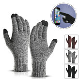 Winter Knitted Wool Touch Screen Gloves Men Warm Short Plush Lining Full Finger Sport Cycling Gloves