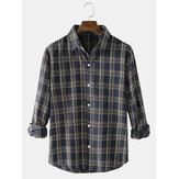 Erkekler için Tüvit Ekose Baskı Düğmeli Uzun Kollu Gömlek