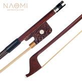 NAOMI 4/4 Arco per contrabbasso stile francese in legno brasiliano bastone con impugnatura in pelle di pecora rana wengé crine bianco