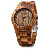 BEWELL ZS-W086B Relógio de Pulso Masculino Quartzo Moda Exibição de Calendário Auto Natural de Madeira