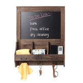 Wood Chalkboard Blackboard Wall Memo Message Note Drawing Board Storage Chalk Holder with 3 Hooks
