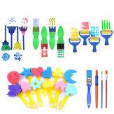 28 Pcs Esponja Pintura Escovas Kit Esponja Formas de Desenho Artesanato de Pintura Escova para Crianças Sortidas Padrão para Crianças Aprendendo Precoce