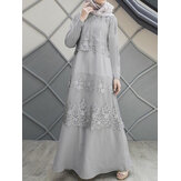 Lace Stitching A-Line O-Neck Solid Color Long Sleeve MuslimDressAbayaKaftan For Women