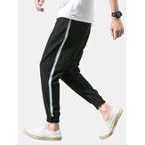 Erkek Düz Renk İpli Elastik Ayak Bileği Casual Pantolon Cepli