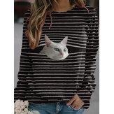 Женская полоса Кот Пуловер с принтом Черные повседневные кофты