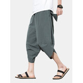 Mens Solid Color Brief Style Casual Loose Drawstring Waist Harem Pants