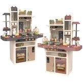 65 Pcs 93cm Children Kitchen Kitchenware Play Toy Simulation Steam Spray Cooking Set Cookware Tableware Gift