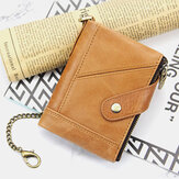 Men Genuine Leather Multi-slot Retro Business Fashion Leather Card Holder Wallet With Chain