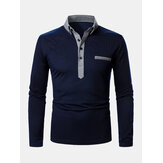Mens Two Tone Revers Casual Langarm Golf Shirts Mit Tasche