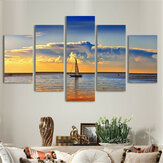 5Pcs Sunset Sailing Boat Canvas Print Paintings Wall Decorative Print Art Pictures Frameless Wall Hanging Decorations for Home Office