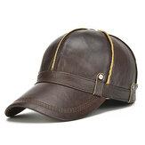 قبعة بيسبول من الجلد الطبيعي للرجال مزودة بغطاء رأس سميك قابل للتعديل