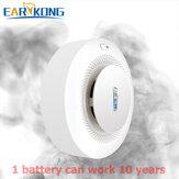 EARYKONG 433MHz Detector de humo Inalámbrico Protección contra incendios Humo Sensor Alarma de incendio altamente sensible para GSM/Wifi Sistema de alarma
