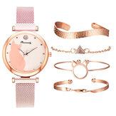 Deffrun mode luxe chat cadran Bracelet magnétique dames robe Bracelet avec boîte-cadeau bracelet en acier allié montre à Quartz