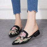 Large Size Embroidery Floral Loafers Casual Sandals