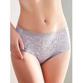 Women Underwear Plus Size Floral Embroidery Lace-trim Mid Waist Mesh Panties