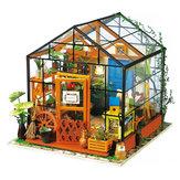 Greenhouse DIY House Model Kit Miniature LED Light Doll House Build Toy