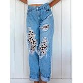 Dames gescheurde luipaard gerafelde noodlijdende stijve mid-waist casual jeans
