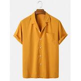 Мужские однотонные рубашки с короткими рукавами