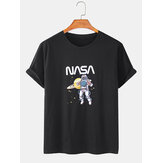 100% Cotton NASA & Astronaut Print Short Sleeve Round Neck T-Shirts