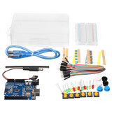 Basic Starter Kit UNO R3 Mini Breadboard LED Jumper Wire Button With Box For Geekcreit for Arduino - products that work with official Arduino boards