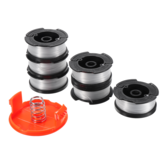 6 + 2 Trimmer Line 30ft Remplacement String Trimmer Spool Cap Cover Spring For Black and Decker String Trimmers