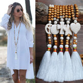 Bohemian White Tassel Necklace Ethnic Geometric Heart Star Cross Pendant Long Necklace