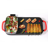 Multifunction Smokeless Electric Grill Hot Pot Shabu Pot Teppanyaki Plate 2400W 5-speed Automatic Regulator