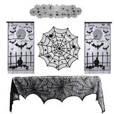 Halloween Ghost Festival Lace Table Cloth Curtain Black Spider Web Web Tablecloth Halloween Decoration Party Tablecloth
