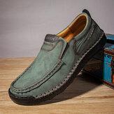 الرجال اليدوية خياطة غير زلة لينة مريحة الانزلاق على الأحذية الكاجوال