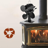IPRee® 4 Blade Fireplace Fan Self-Powered Wood Stove Fan Burner Stove Fan for Home Travel