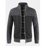 Casacos de malha de inverno casual masculino com costura grossa de malha com gola jaqueta quente