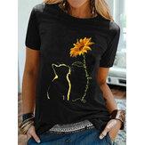 Kadın için Kedi Ayçiçeği Baskılı O-Boyun Kısa Kollu Casual T-Shirt