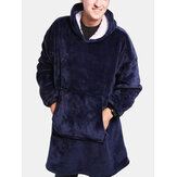 Mens Warm Flannel Oversized Kangaroo Pocket Blanket Hoodie Sleepwear Robes
