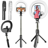 Bakeey XT18 bluetooth Fill Light Selfie Stick 7.3inch Dimmable LED Ring Light Tripod Stand Aluminum Alloy Portable Detachable for YouTube Tiktok Live Stream Makeup with Tripod Phone Holder