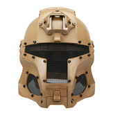 WoSporT Full Face Stahl Mesh Helm Schild Mittelalterliche Iron Warrior Tactical Outdoor Retro Motorrad