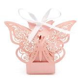 10 ks Butterfly Lace Hollow Out Papírové Candy Boxy Svatební lahůdky Sladkosti Tašky Table Decoration