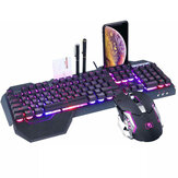 K618 104 Tombol USB Multimedia Kabel RGB Backlit Gaming Keyboard dan 2400DPI LED Gaming Mouse Set