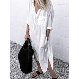 Women Pure Color Button Lapel Irregular Hem Shirt Dress