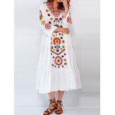 Étnico Mujer con cuello en v manga larga estampado floral plisado Vestido