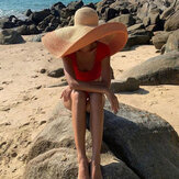 Woman Handmade Wild Brim Visor Color Stripe Vacation Beach Sun Hat Natural Raffia Rolled-up Brim Straw Hat