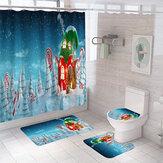 2020 yılbaşı dekoru duş perdesi klozet kapağı pazen Mat Banyo ürün için ev Banyo Accessaries Set dekor