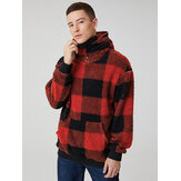Hombre Classic Plaid Plush Kangaroo Pocket Manga larga Teddy Hoodies