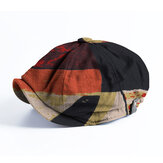 Banggood Tasarım Erkekler Patchwork Renkli Desen Günlük Kısa Ağız Sekizgen Kap Bere Şapka
