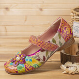 SOCOFY Retro Flower Decor Printed Cowhide Leather Stitching Cloth Comfy Round Toe Casual Flat Shoes