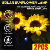 2 ШТ. LED Солнечная Легкий Подсолнух Лампа На открытом воздухе Двор Сад Украшение Газон Путь