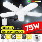 75W E27 5 Cuchillas LED Taller de fijación de luz deformable en el techo del taller Lámpara Bombilla AC165-265V