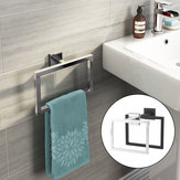 Chrome Modern Bathroom Wall Accessories Square Towel Ring Holder Rack